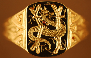 Serpent ring hand engraved by George Bentley